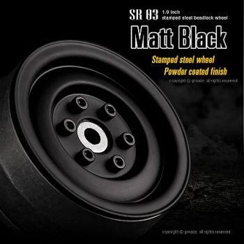 Gmade 1.9 SR03 Beadlock Wheels (2) - Matt Black