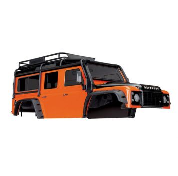 Traxxas TRX-4  Body, Land Rover Defender, adventure orange (complete with ExoCage, inner fenders, fuel canisters, and jack)